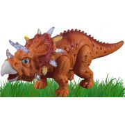 Dinossauro Triceratops Brinquedo Infantil Menino Eletrônico Som Luz Anda +3 Anos Movimentos Plástico Resistente Zoop Toys Original