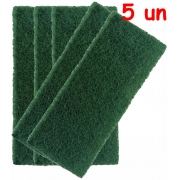 Fibra Limpeza Ultra Pesada Kit 5 Unidades Abrasiva Uso Comercial Geral Bucha Esponja Verde 26x10 Cm Sintética Profissional Perfect