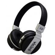 Headphone Bluetooth Sem Fio Preto Cartão SD Fone de Ouvido Rádio Macio VC71P Vicini