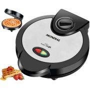 Grill Máquina De Waffle Crocante Antiaderente Aço Inox Prático Rápido 127V Preta 1200 Watts Mondial Original