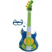 Guitarra Elétrica Infantil Azul Meninos Com Sons Função Mp3 Óculos-microfone Instrumento Musical Brinquedo Didático Rock Star Zoop Toys