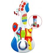 Guitarra Eletrônica Infantil Musical Bebê Criança Menino Menina Bolhas De Sabão Sons Pisca Luzes Brilha Modelo ZP00047 Zoop Toys