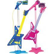 Guitarra Eletrônica Infantil Rock Star Microfone Rosa Azul Menino Menina Cordas  Modelo ZP00219 Original Zoop Toys