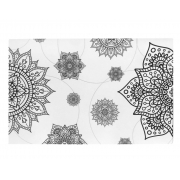 Jogo Americano 6 Peças Para Mesa Posta Flor Mandala Decorativa Preto Branco Plástico Prático Impermeável Jantar Almoço