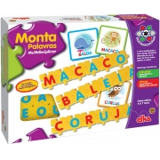 Jogo Brinquedo Infantil Monta Palavras Multidisciplinar Pedagógico Educativo Alfabeto Português Ciências Alfabetização Menino Menina Lançamento Elka