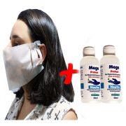 5 Máscaras Tubarão Tnt Descartável Ajustável Proteção + Álcool em Gel 70% Bactericida Antisséptico com Hidratante Para as Mãos 2 Unidade 50 Ml