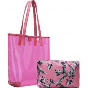 Kit Bolsa De Praia Feminina Transparente Coleção Palha Chic Vinil Tote Grande Várias Cores + Necessaire Tema Tropical Flamingo Pagani Semax