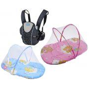 Kit Canguru Bebê Safe Multikids + Berço Mosquiteiro Móvel Bebê