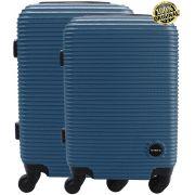 Kit Conjunto 2 Malas De Bordo Viagem 18'' 20'' Abs Rígida Pequena 4 Rodinhas 360° Cadeado Senha Azul Yins YS21064 ANAC