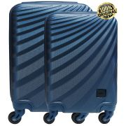 Kit Conjunto 2 Malas De Bordo Viagem 18'' 20'' Abs Rígida Pequena 4 Rodinhas 360° Cadeado Senha Azul Yins YS21070 Original ANAC