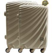 Kit Conjunto 2 Malas De Bordo Viagem 18'' 20'' Abs Rígida Pequena 4 Rodinhas 360° Cadeado Senha Dourada Yins YS21070 ANAC