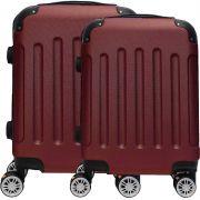 Kit Conjunto 2 Malas De Bordo Viagem 18'' 20'' Abs Rígida Pequena 4 Rodinhas 360° Cadeado Senha Vermelho Escuro Hinza ANAC