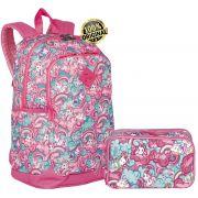 Kit Conjunto Mochila Escolar Feminina Antifurto Notebook Impermeável Juvenil Costas Unicórnio Rosa Resistente + Estojo 3 compartimentos Grande Sestini