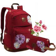 Kit Conjunto Mochila Escolar Feminina Juvenil Floral Costas Lona Grande Moderna + Estojo Duplo Funpacks Seanite