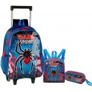 Mochila Escolar Infantil Aranha Dark Spider Rodinha Carrinho Alças Costas Impermeável Lancheira Térmica Estojo Clio