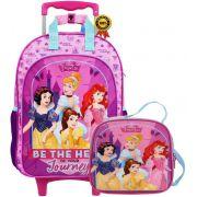 Kit Conjunto Mochila Escolar Infantil Feminina Princesas Disney Rodinha Grande Resistente Menina + Lancheira Térmica Pote Garrafinha Dermiwil