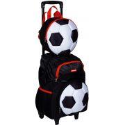 Kit conjunto Mochila Escolar Infantil Menino Futebol Bola Rodinha Grande Com Lancheira Térmica Pote Garrafa Impermeável Resistente Sestini