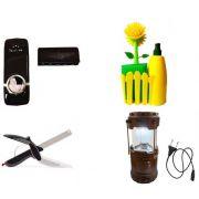 Kit Dispenser Automático + Conjunto de Limpeza para Pia + Tesoura 2 Em 1 + Lampião e Lanterna Led Recarregável USB