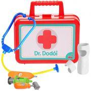 Kit Dr Dodói Maleta primeiros Socorros Vários Acessórios Infantil Criança Gesso Injeção Medidor Febre Escuta Coração Original Elka