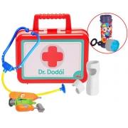 Kit Dr Dodói Maleta primeiros Socorros Vários Acessórios Infantil Criança Gesso Injeção Medidor Febre Escuta Coração Bolhas De Sabão Elka