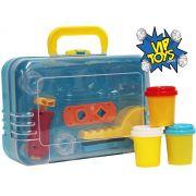 Kit Fábrica De Massinha Modelar Na Maleta Infantil Forminhas Menina Menino Rolo Plástico Certificado Inmetro + 3 Anos VB401 Original Vip Toys