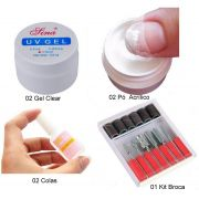 Kit Manicure Gel Uv + Pó Acrílico + Cola + Kit Brocas