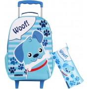 Kit Mochila Bolsa Carrinho Infantil Woof Menino Azul Com Rodas Silicone Resistente Impermeável + Estojo Simples Pequeno Dmw