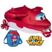 Kit Mochila Escolar Carrinho Rodinha Infantil Super Wings Menino Com Lancheira Maxtoy