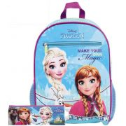 Kit Mochila Escolar Infantil Frozen Costas Menina Resistente Estojo Elsa Anna Olaf Disney Lançamento Dermiwil Original