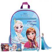 Kit Mochila Escolar Menina Infantil Frozen Costas  Resistente Estojo Elsa Anna Olaf Disney Lançamento Dermiwil