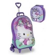 Kit Mochila Escolar Rodinha Carrinho Infantil Menina Hello Kitty Com Lancheira Maxtoy