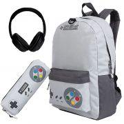 Kit Mochila Escolar Super Nintendo Menino Fone de Ouvido Mochila + Estojo