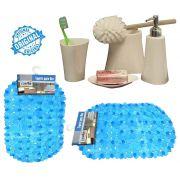 Kit Para Banheiro Branco 4 Peças Em Plástico + Tapete Para Box PVC Antiderrapante Azul