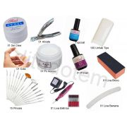 Kit Unhas Tips Gel Pó Acrílico Porcelana C/ Lixa Elétrica