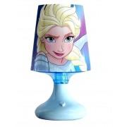 Luminária De Mesa Abajur Infantil Frozen 20cm Com Led Branco Colorido Etihome