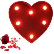 Luminária LED Decorativa 5 Leds Coração - 2 Pilhas AA