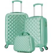 Mala De Viagem Bordo 55x35x25 Kit Com Frasqueira Verde Feminina Pequena Abs Rígida 4 Rodinhas 360° Cadeado Senha Puxador Resistente Seanite