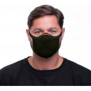 Máscara De Proteção Fiber Knit 3D Reutilizável Antiviral Com 1 Refil E96 Anatômica Esportiva Fitness Tamanho G Lavável Verde Escuro  Adulta Unissex