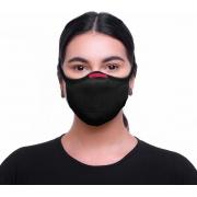 Máscara De Proteção Fiber Knit 3D Reutilizável Antiviral Com 1 Refil E96 Anatômica Esportiva Fitness Tamanho M Lavável Preta Adulta Unissex