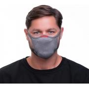 Máscara Fiber Knit De Proteção 3D Reutilizável Antiviral Com 1 Refil E96 Anatômica Esportiva Fitness Tamanho G Lavável Cinza Adulta Unissex