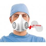 Mascara N95 cirurgica Reutilizável Com 20 Refil De Filtro PFF2 Descartavel Com 95% De Eficiência Elimina 99% Dos Microorganismos Protetor Facial