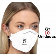 Mascara N95 Pff2 Hospitalar Kn95 Kit 10 Unidades Descartavel Cirugica Proteção Respiratória Clip Nasal 4 Camadas Branca Protetora Facial Anvisa KSN
