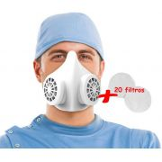 Mascara N95 Protecao Cirurgica Respiratória Reutilizável Com 20 Refis De Filtro Oto 95% De Eficiência Protetora Facial L