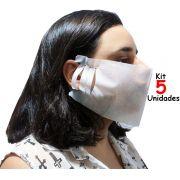Máscaras De Proteção Tubarão Lavável Ajustável 5 Unidades Branca Facial Reutilizável Tnt Resistente Cuidado Higiene