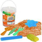 Massinha de Modelar Areia Divertida no Balde 400g Infantil Menino Menina Forminhas Faquinha Colher Garfinho Plástico Certificado Inmetro +3 Anos Original Vip Toys
