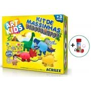 Massinha De Modelar Brinquedo Infantil Atóxico Kit 25 peças Dinossauro Colorido 600g Acrilex