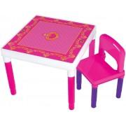 Mesa Mesinha Didática Das Princesas Infantil Com Cadeira Menina Desmontável Rosa Plástico Resistente Bell Toy