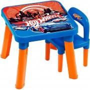 Mesa Mesinha Didática Hot Wheels Infantil Com Cadeira Colorida Menino Menina Desmontável Plástico Resistente Fun