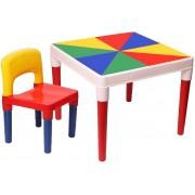 Mesa Mesinha Didática Multi Infantil Com Cadeira Colorida Menino Menina Desmontável Plástico Resistente Bell Toy
