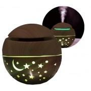 Mini Umidificador De Ar Luminária De Mesa Led Com Estrelas Lua Liso 7 Cores Usb Difusor De Aromas De Ambiente